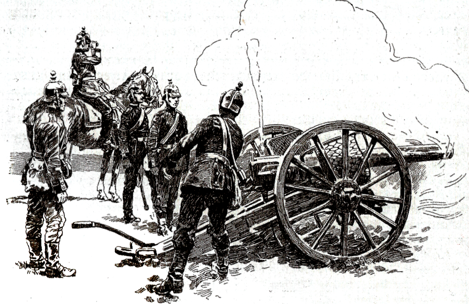 157 - Pruské dělostřelectvo v palebném postavení.